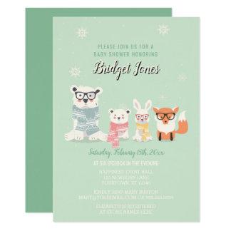 Cartão Chá de fraldas da floresta do inverno dos animais