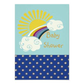 Cartão Chá de fraldas da luz do sol e do arco-íris