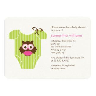 Cartão Chá de fraldas da menina do equipamento do bebê