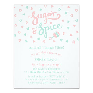 Cartão Chá de fraldas das meninas da tipografia do açúcar