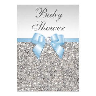 Cartão Chá de fraldas de prata dos azuis bebés dos