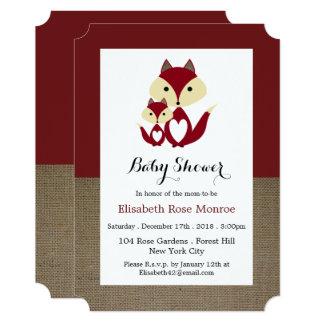 Cartão Chá de fraldas de serapilheira do Fox vermelho