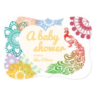 Cartão Chá de fraldas de tiragem do pavão floral colorido