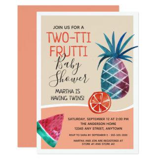 Cartão Chá de fraldas de Two-tti Frutti dos gêmeos