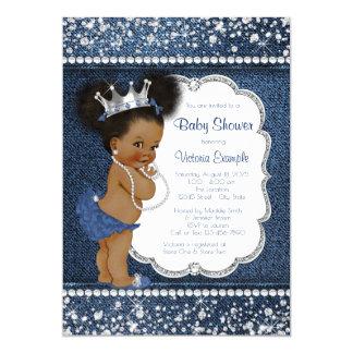 Cartão Chá de fraldas do afro-americano das meninas do
