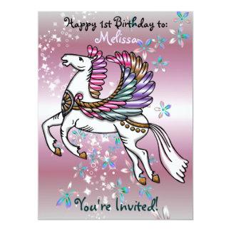Cartão CHÁ DE FRALDAS do ANIVERSÁRIO de Pegasus dos