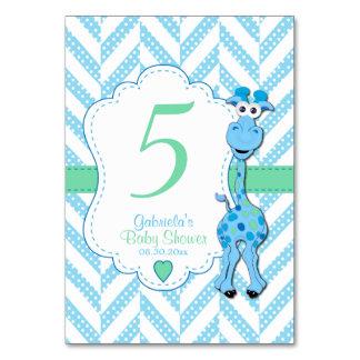 Cartão Chá de fraldas do girafa dos azuis bebés - números