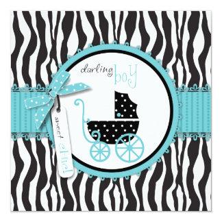 Cartão Chá de fraldas do impressão da zebra e da