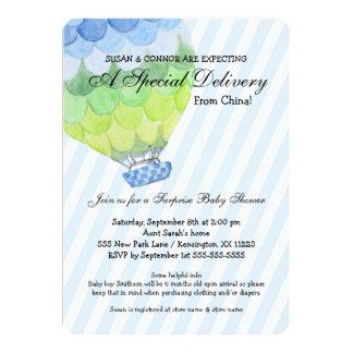 Cartão Chá de fraldas do menino da adopção, balão de ar