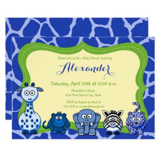 Cartão Chá de fraldas do menino do animal selvagem de