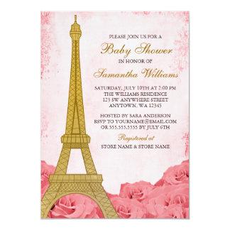 Cartão Chá de fraldas do ouro do rosa de rosas da torre