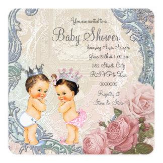 Cartão Chá de fraldas do príncipe e da princesa Gêmeo