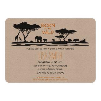 Cartão Chá de fraldas do safari
