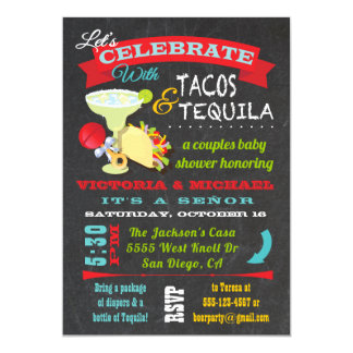 Cartão Chá de fraldas do Tacos do quadro e dos casais do