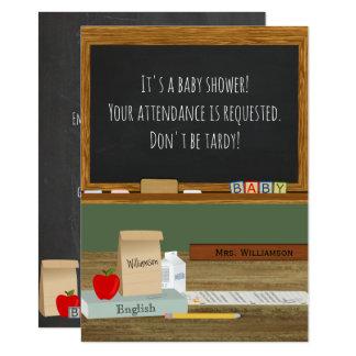 Cartão Chá de fraldas do tema do professor