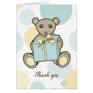 Cartão Chá de fraldas do urso de ursinho ou obrigado do