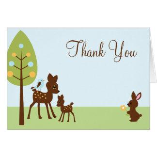 Cartão Chá de fraldas dos animais da floresta