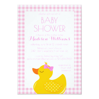Cartão Chá de fraldas Ducky de borracha