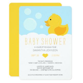 Cartão Chá de fraldas Ducky de borracha amarelo do banho