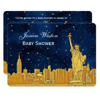 Cartão Chá de fraldas estrelado azul da skyline #2 H do