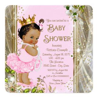 Cartão Chá de fraldas étnico da princesa Tutu Cor-de-rosa