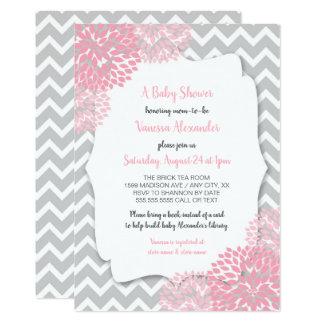 Cartão Chá de fraldas floral cinzento cor-de-rosa +