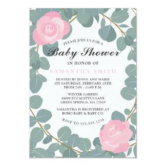 Cartão Chá de fraldas floral cor-de-rosa e do eucalipto