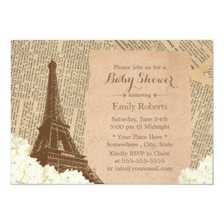 Cartão Chá de fraldas floral da torre Eiffel de Paris do