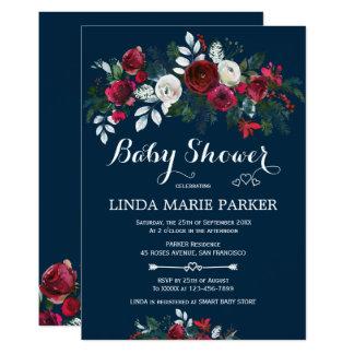 Cartão Chá de fraldas floral do inverno dos azuis