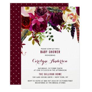 Cartão Chá de fraldas floral do outono de Boho da