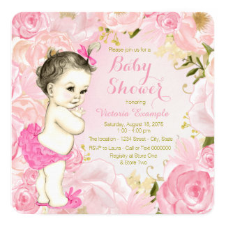Cartão Chá de fraldas floral do rosa do rosa da aguarela
