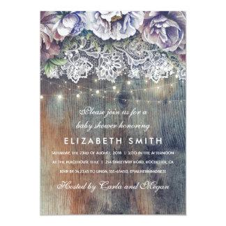 Cartão Chá de fraldas floral rústico azul e marrom