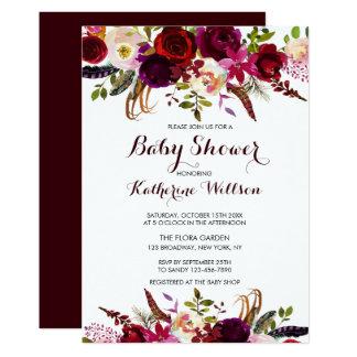 Cartão Chá de fraldas floral rústico de Borgonha Marsala