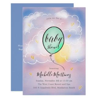 Cartão Chá de fraldas macio do balão das nuvens