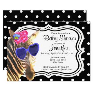 Cartão Chá de fraldas moderno animal da zebra preta das