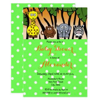 Cartão Chá de fraldas neutro animal do género do safari