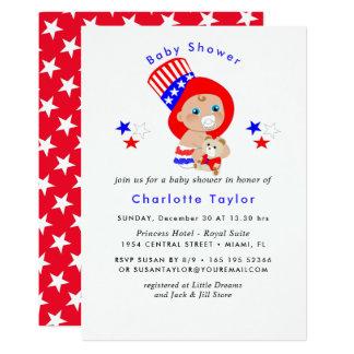 Cartão Chá de fraldas patriótico do americano do tio Sam