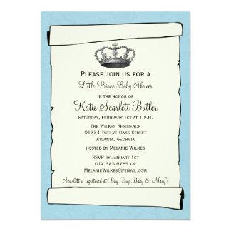 Cartão Chá de fraldas pequeno azul do príncipe Vintage