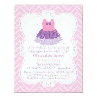 Cartão Chá de fraldas roxo cor-de-rosa da menina do