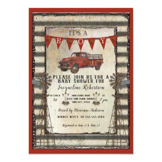 Cartão Chá de fraldas rústico do menino da casa da quinta