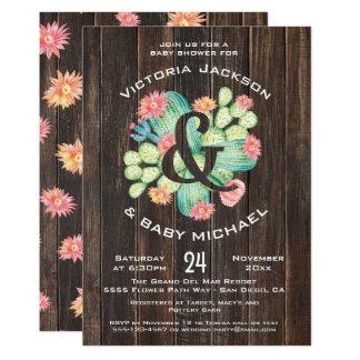 Cartão Chá de fraldas rústico do Succulent da aguarela