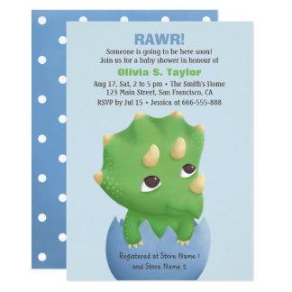 Cartão Chá de fraldas temático do dinossauro do