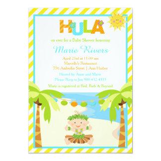 Cartão Chá de fraldas tropical do menino de Hula