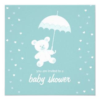 Cartão Chá de fraldas - urso de ursinho - azul/alguma cor