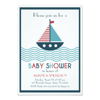 Cartão CHÁ DE FRALDAS vermelho e azul náutico do barco