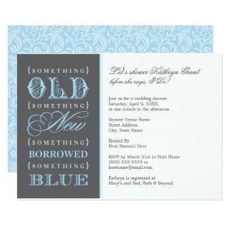 Cartão Chá de panela   algo azul