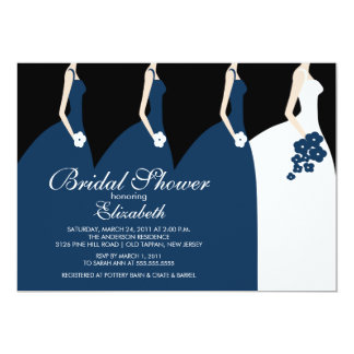 Cartão Chá de panela azul das damas de honra da noiva