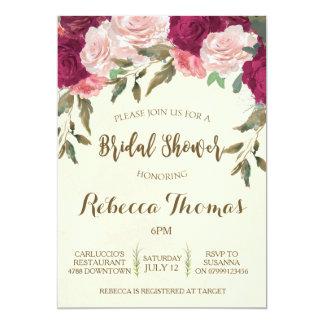 Cartão Chá de panela Borgonha floral moderna