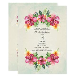 Cartão Chá de panela botânico Aloha das flores tropicais