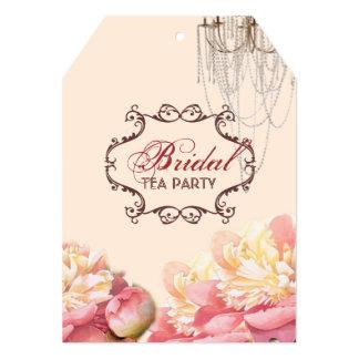 Cartão chá de panela botânico da peônia cor-de-rosa da